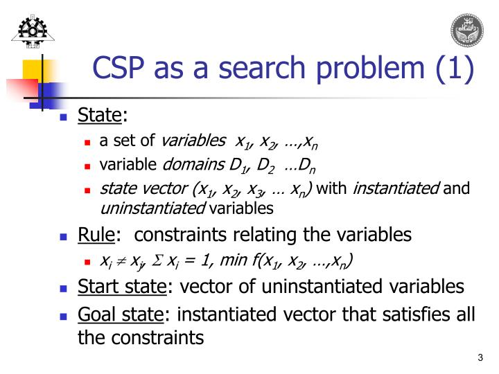 CSP as a search problem (1)