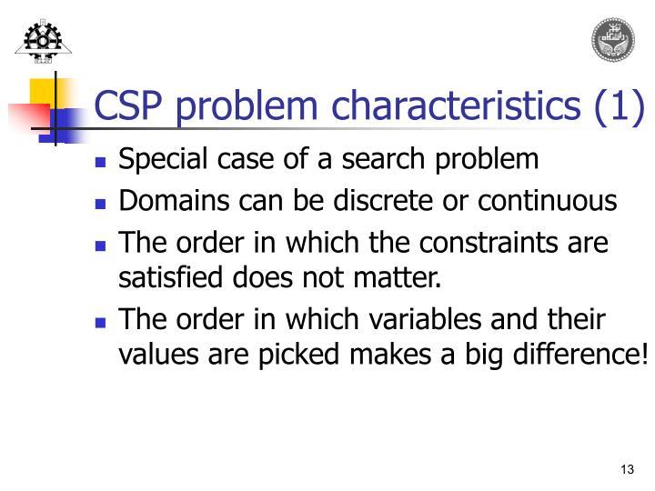 CSP problem characteristics (1)