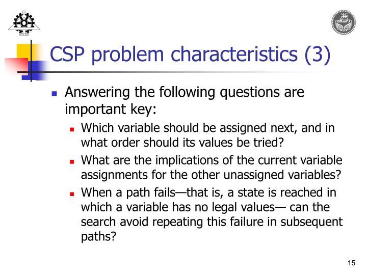 CSP problem characteristics (3)