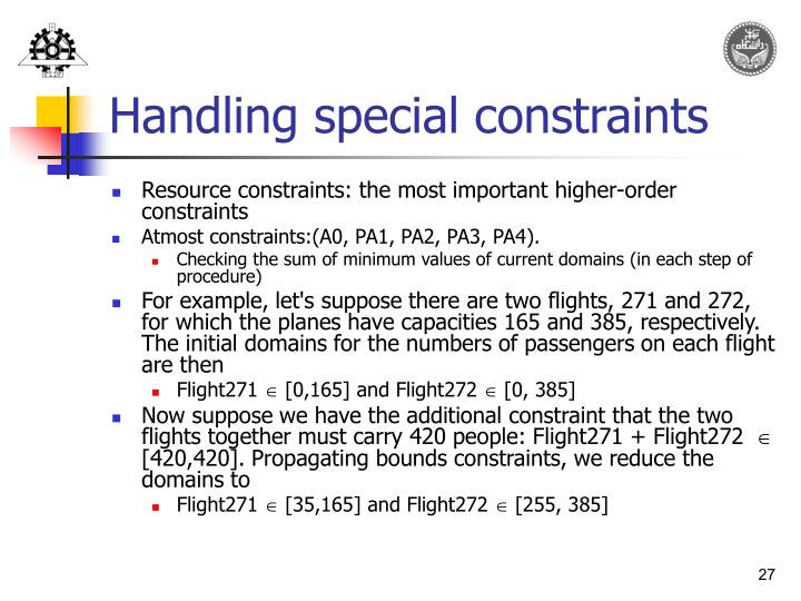 Handling special constraints