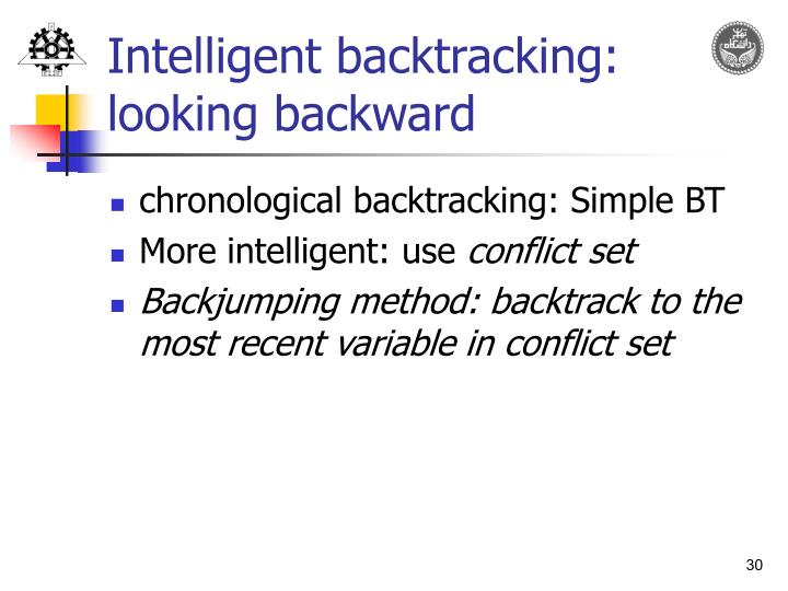 Intelligent backtracking: looking backward
