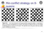 min conflict strategy on 8 queens