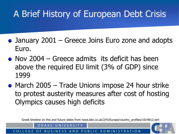 A Brief History of European Debt Crisis