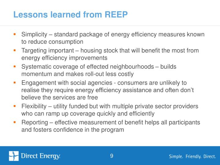 Lessons learned from REEP