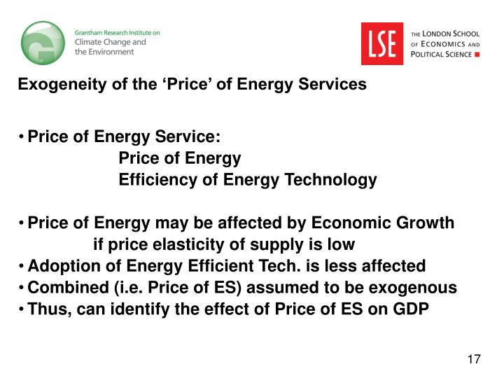 Exogeneity of the 'Price' of Energy Services