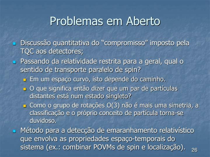 Problemas em Aberto