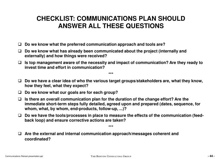CHECKLIST: COMMUNICATIONS PLAN SHOULD