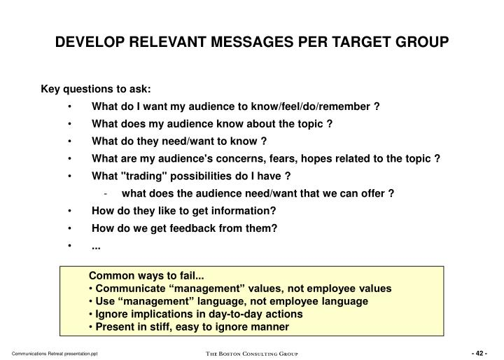 DEVELOP RELEVANT MESSAGES PER TARGET GROUP