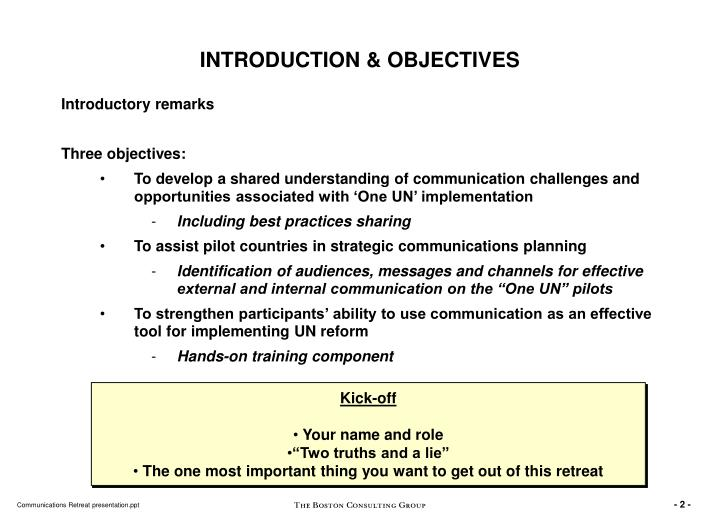 INTRODUCTION & OBJECTIVES