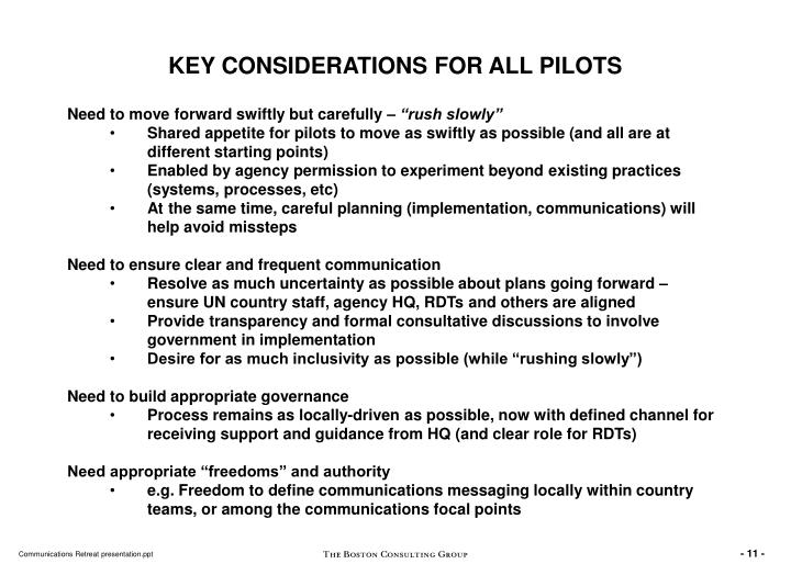 KEY CONSIDERATIONS FOR ALL PILOTS