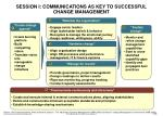 session i communications as key to successful change management