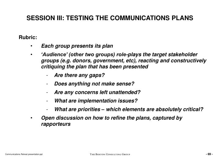 SESSION III: TESTING THE COMMUNICATIONS PLANS