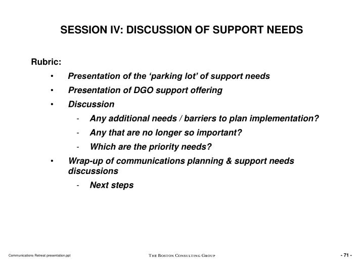 SESSION IV: DISCUSSION OF SUPPORT NEEDS