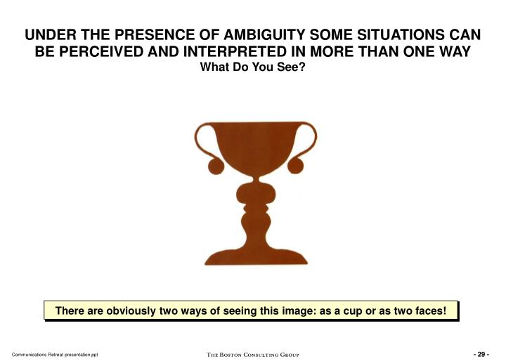 UNDER THE PRESENCE OF AMBIGUITY SOME SITUATIONS CAN BE PERCEIVED AND INTERPRETED IN MORE THAN ONE WAY