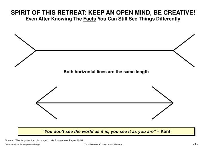 SPIRIT OF THIS RETREAT: KEEP AN OPEN MIND, BE CREATIVE!