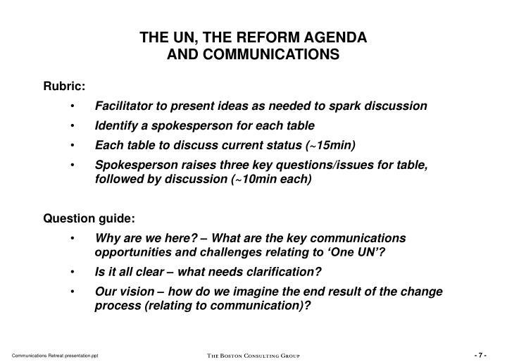 THE UN, THE REFORM AGENDA