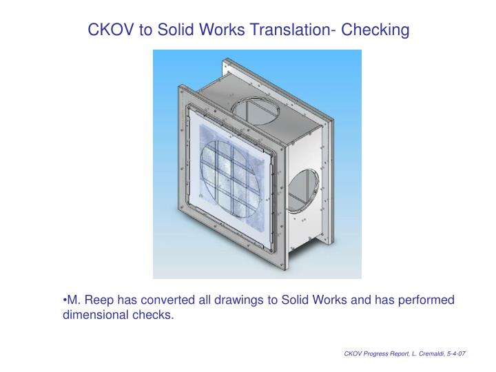 CKOV to Solid Works Translation- Checking