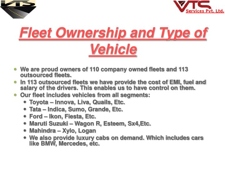 Fleet Ownership and Type of Vehicle