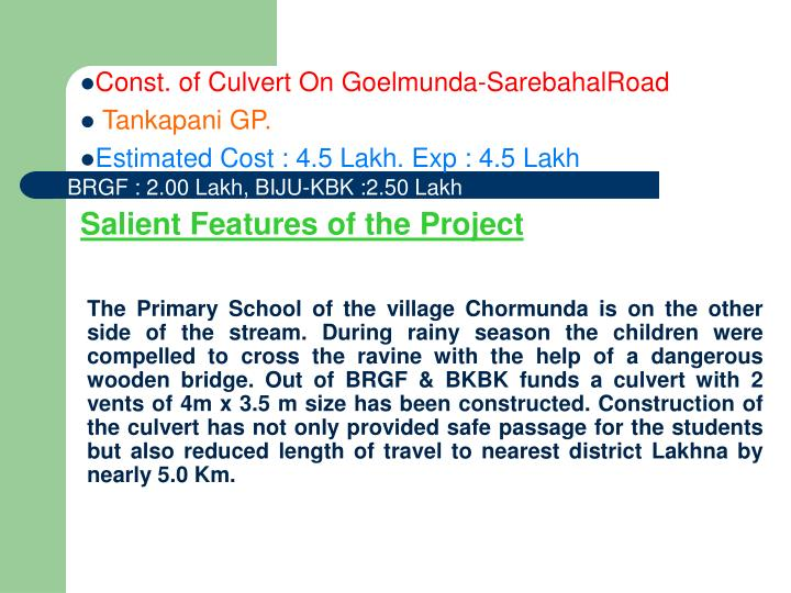 Const. of Culvert On