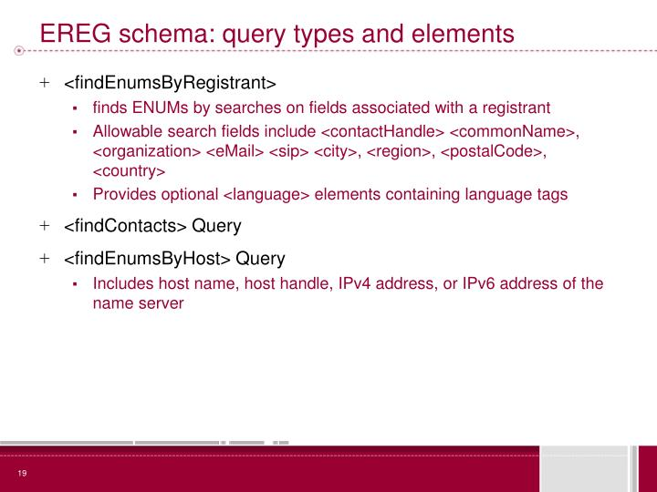 EREG schema: query types and elements