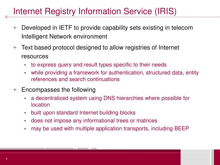 Internet Registry Information Service (IRIS)