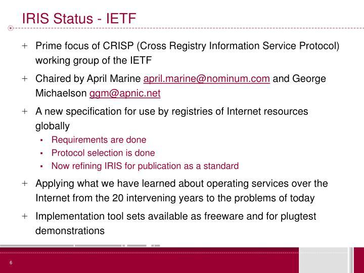 IRIS Status - IETF