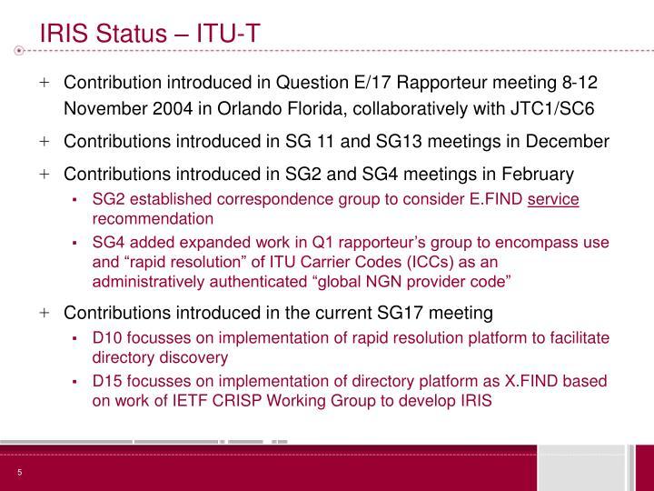 IRIS Status – ITU-T