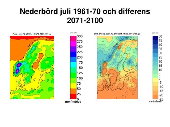 Nederbörd juli 1961-70 och differens 2071-2100
