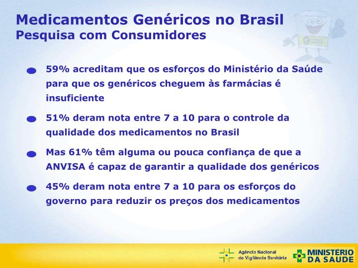 59% acreditam que os esforços do Ministério da Saúde para que os genéricos cheguem às farmácias é insuficiente