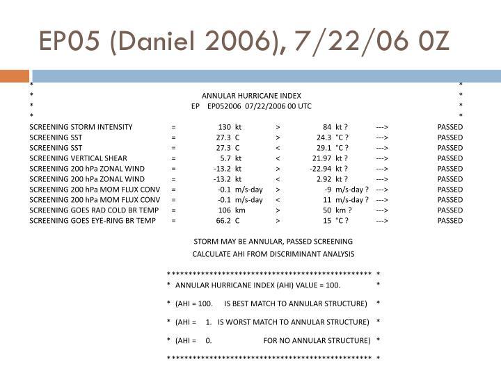 EP05 (Daniel 2006), 7/22/06 0Z