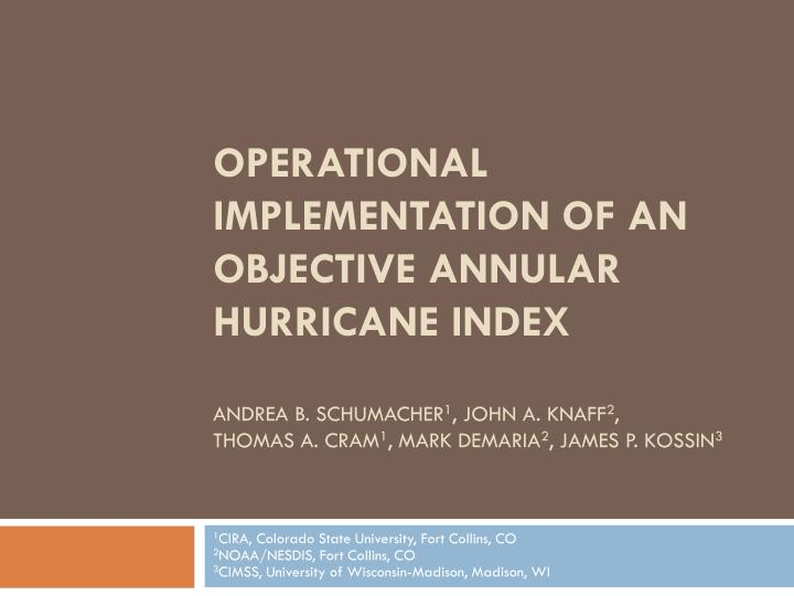 Operational Implementation of an Objective Annular Hurricane Index