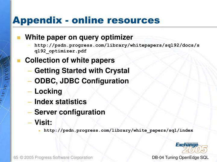 Appendix - online resources