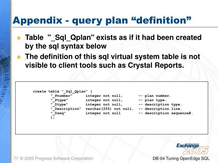 """Appendix - query plan """"definition"""""""