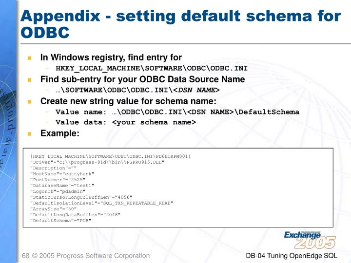 Appendix - setting default schema for ODBC