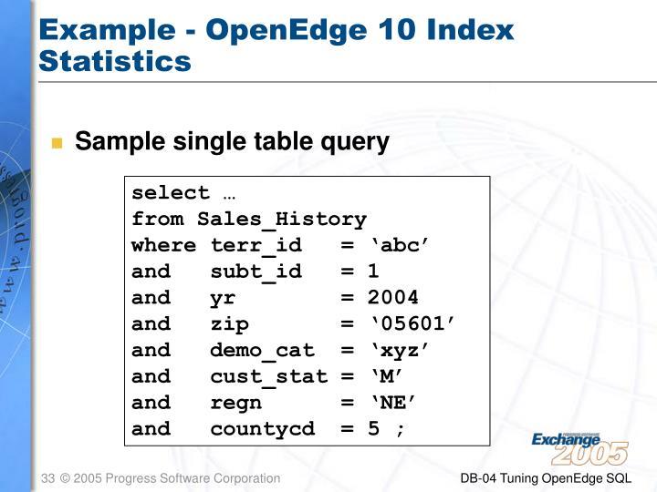 Example - OpenEdge 10 Index Statistics