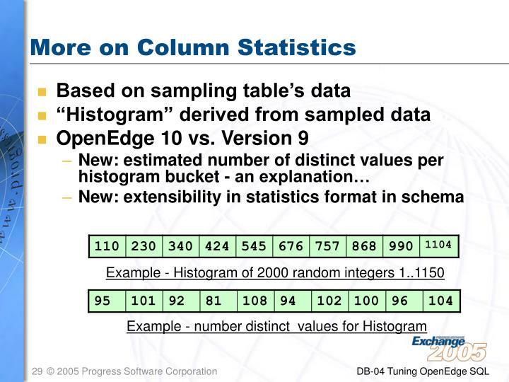 More on Column Statistics