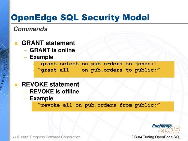 OpenEdge SQL Security Model