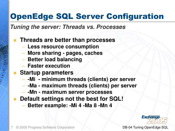 OpenEdge SQL Server Configuration