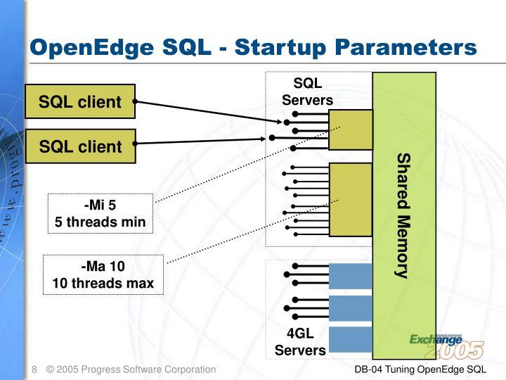 OpenEdge SQL - Startup Parameters
