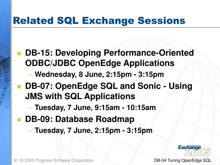 Related SQL Exchange Sessions