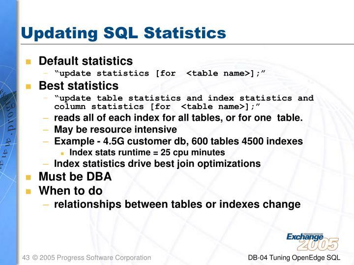 Updating SQL Statistics
