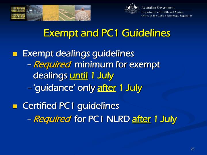 Exempt and PC1 Guidelines
