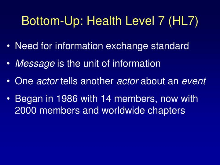 Bottom-Up: Health Level 7 (HL7)