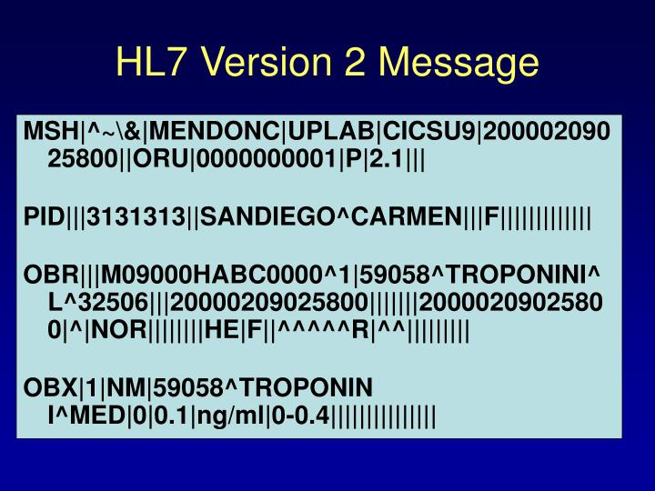 HL7 Version 2 Message
