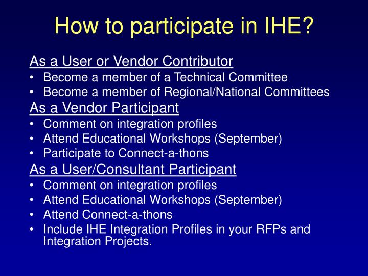 How to participate in IHE?