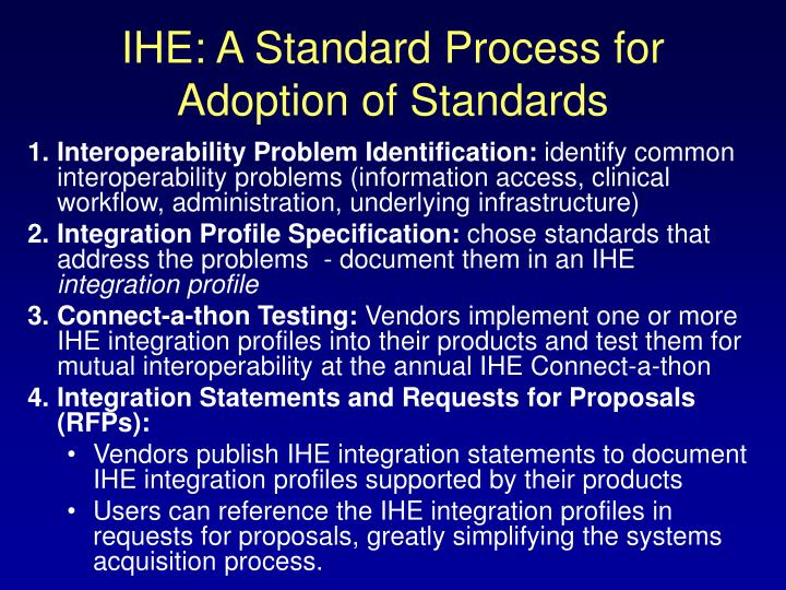 IHE: A Standard Process for Adoption of Standards