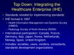 top down integrating the healthcare enterprise ihe