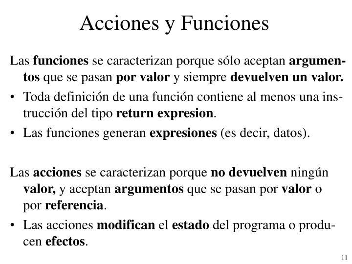 Acciones y Funciones
