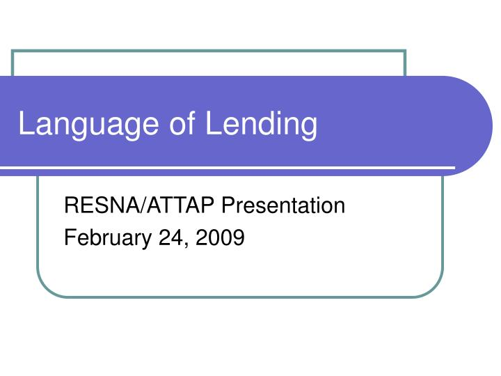 Language of lending