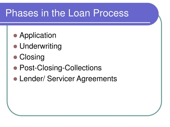 Phases in the loan process